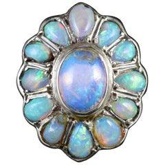 Antique French Victorian Opal Silver Cluster Ring, circa 1900