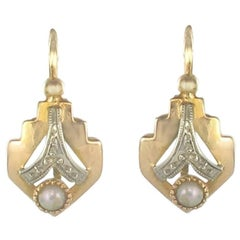 French 1930s Art Deco Natural Pearl 18K White Yellow Gold Drop Earrings