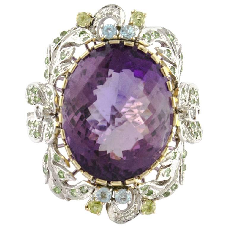 Topaz Diamonds Amethyst Rose and White Gold Flower Ring