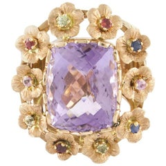 Rose Gold Ring, Precious Stones and Central Amethyst