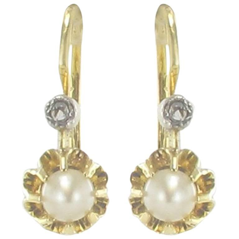 2289b0224389fe French 1900s Antique Cultured Pearl Diamonds Yellow Gold Drop Earrings For  Sale