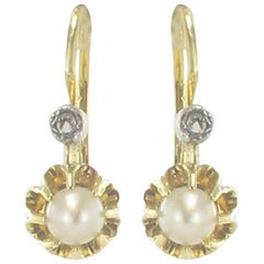 French 1900s Antique Cultured Pearl Diamonds Yellow Gold Drop Earrings