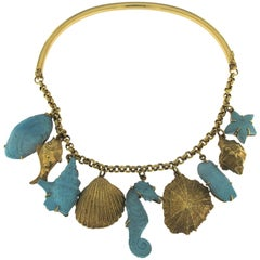 18 Karat Yellow Gold and Turquoise Necklace