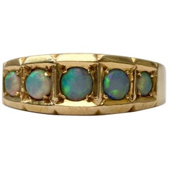 Opal Ring 18 Carat Gold Vintage Jewelry Five-Stone Band Victorian Antique Rings