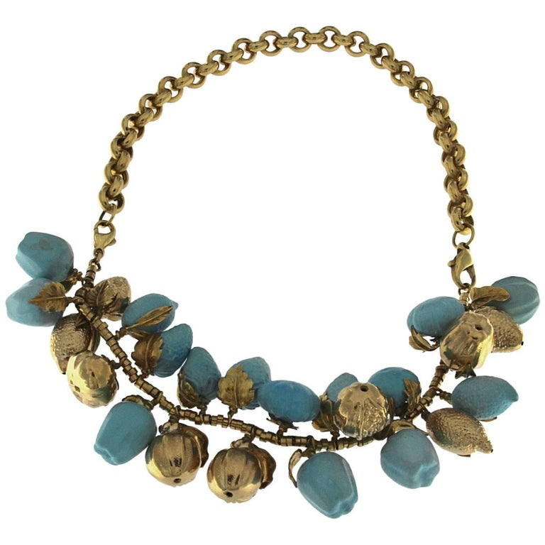 Turquoise and 18 Karat Yellow Gold Fruit Necklace