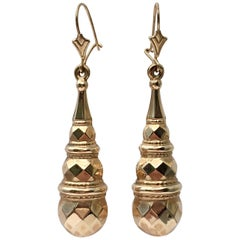 Large Fancy Earrings Gold Vintage Jewelry Teardrop Torpedo Long Drop Dangling