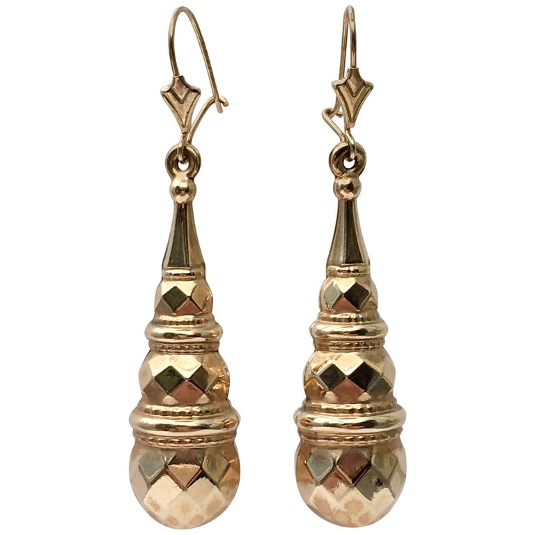 Large Gold Teardrop Torpedo Long Drop Vintage Dangling Fancy Earrings