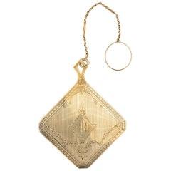14 Karat Gold Chatelaine Mirror