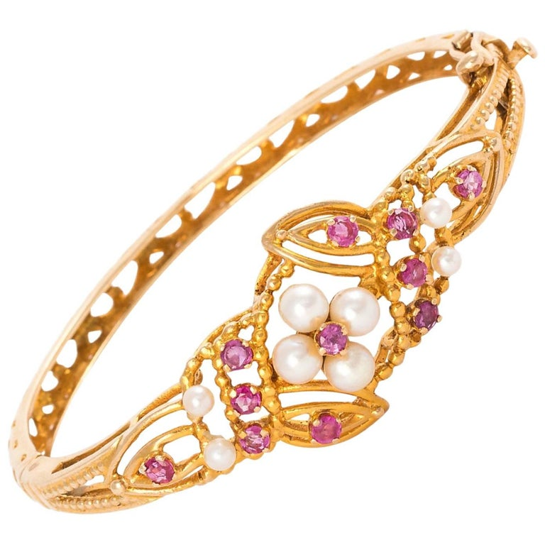 14 Karat Gold Floral Bracelet with Rubies and Pearls