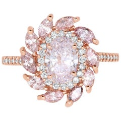 1.02 Carat GAL Certified Natural Fancy Light Pink Oval Starburst Ring