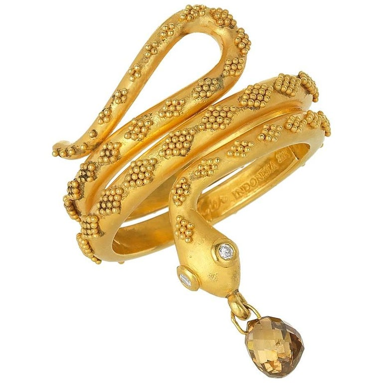 Carolyn Tyler Gold Snake Ring For Sale