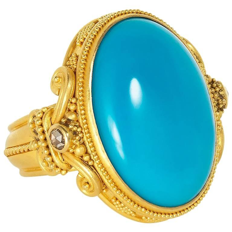 Carolyn Tyler Sleeping Beauty Turquoise Diamond and Gold Ring
