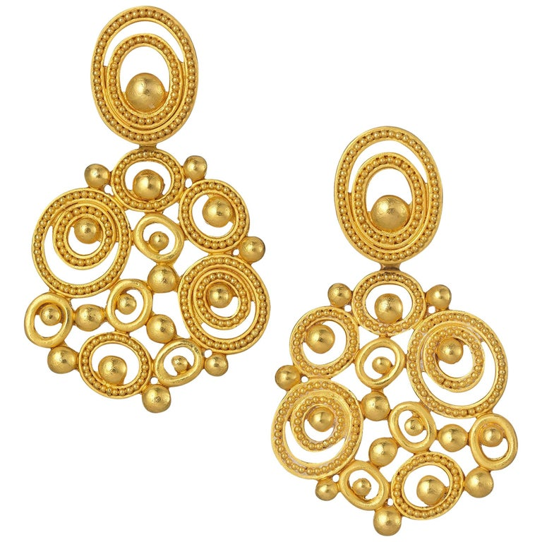 Carolyn Tyler Dune Chandelier Gold Earrings For