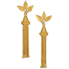 Carolyn Tyler Yellow Gold Tassel Earrings