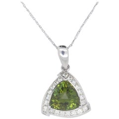 5.74 Carat Trilliongreen Tourmaline and Diamond Pendant