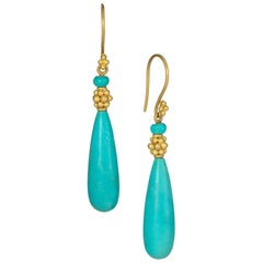 Carolyn Tyler Gold and Turquoise Teardrop Earrings