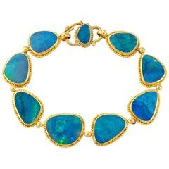 Carolyn Tyler Boulder Opal and Gold Slice Bracelet