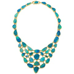 Carolyn Tyler Fishnet Boulder Opal and Gold Necklace