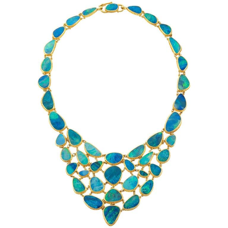 Carolyn Tyler Fishnet Boulder Opal and Gold Necklace