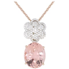 28.64 Carat Round Pink Morganite and Diamond Pendant