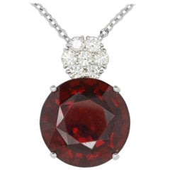 34.70 Carat Round Rhodolite Garnet and 1.2 Carat Diamond Pendant
