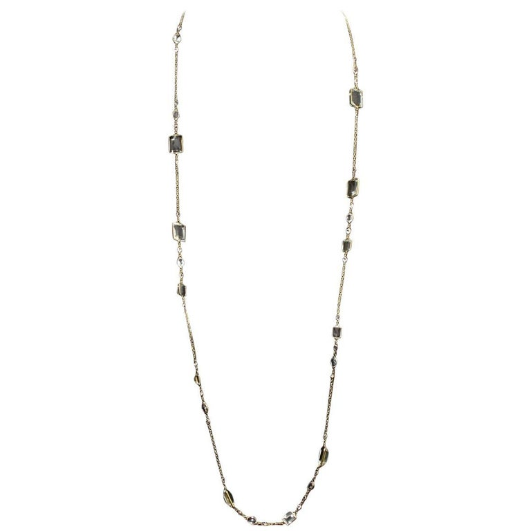 14 Karat Yellow Gold White Topaz and Green Amethyst by the Yard Necklace