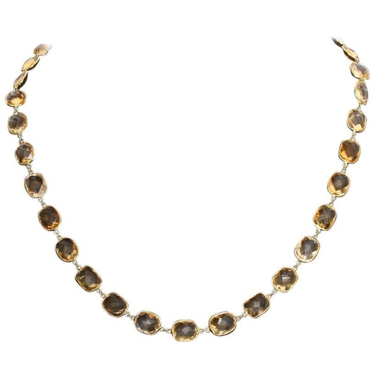 14 Karat Yellow Gold Citrine by the Yard Necklace