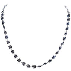 Stunning 14 Karat White Gold Blue Topaz by the Yard Necklace