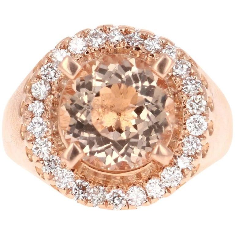 4.61 Carat Morganite Diamond Rose Gold Ring