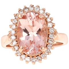 4.42 Carat Morganite Diamond Rose Gold Ring