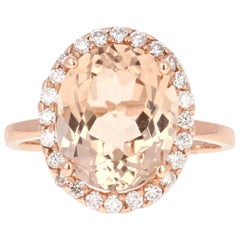 5.66 Carat Morganite Diamond Rose Gold Ring