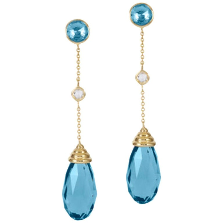 Goshwara Blue Topaz Diamond Dangle Drop Earrings