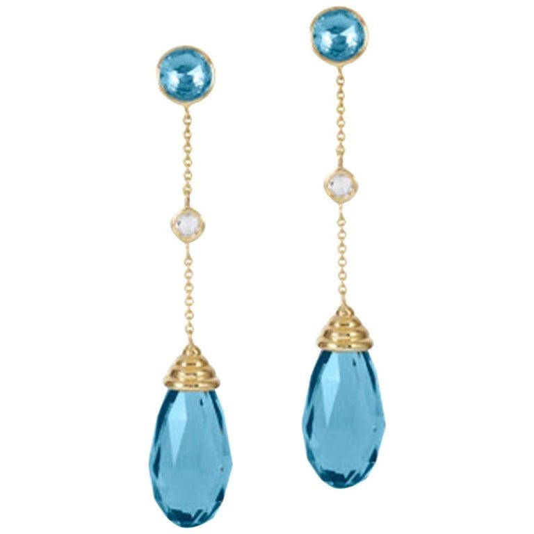 Goshwara Blue Topaz Diamond Dangle Drop Earrings For Sale