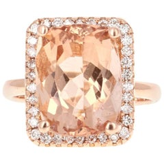 7.86 Carat Morganite Diamond Rose Gold Ring