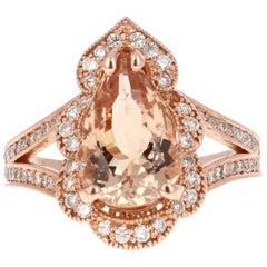 4.42 Carat Morganite Diamond Rose Gold Ring