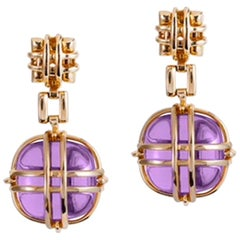 "Goshwara ""Freedom"" Amethyst Drop Gold Cage Earrings"