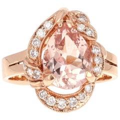 2.98 Carat Morganite Diamond Rose Gold Ring