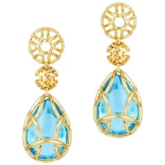 Goshwara Freedom Blue Topaz Tear Drop Cage Earrings
