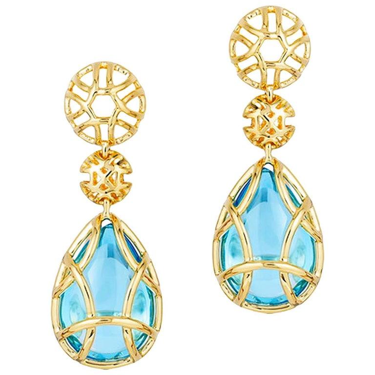 Goshwara Freedom Blue Topaz Tear Drop Cage Earrings For Sale