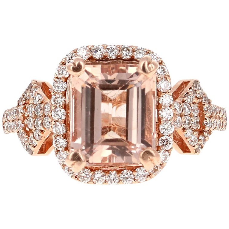 4.21 Carat Emerald Cut Morganite Diamond Rose Gold Cocktail Ring