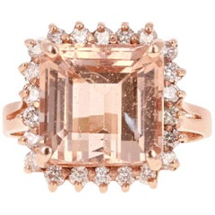 8.14 Carat Morganite Diamond Rose Gold Ring