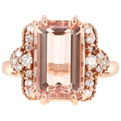 5.56 Carat Morganite Diamond Rose Gold Ring