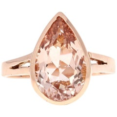 3.65 Carat Morganite Rose Gold Ring