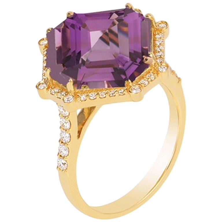 "Goshwara ""Gossip"" Amethyst Diamond Gold Cocktail Ring"