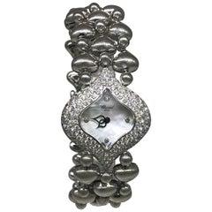 Chopard Ladies Yellow Gold Pushkin Three-Row Diamond Bezel Bracelet Wristwatch