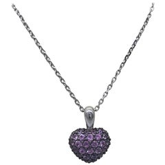 Chopard Heart Shaped Pendant 18 Karat White Gold Pink Sapphires New