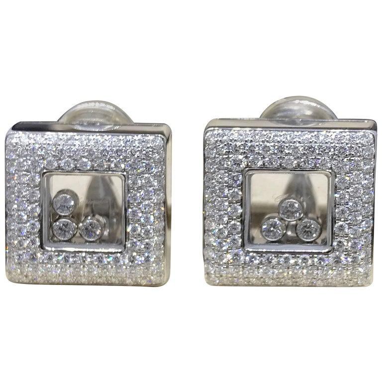 Chopard Hy Diamonds Square 18 Karat White Gold Diamond Earrings 84 2768 20 For