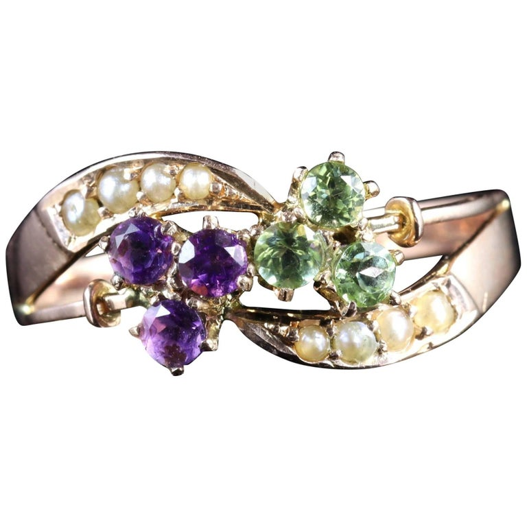 Antique Victorian Suffragette Fancy 9 Carat Gold Ring Amethyst Peridot Pearl