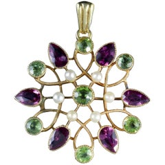 Antique Victorian Suffragette Pendant Peridot Amethyst Pearl 15 Carat Gold