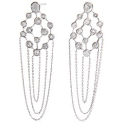 Old Cut Diamonds and 18 Karat White Gold Refines Earrings by Marion Jeantet